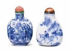 TWO BLUE AND WHITE PORCELAIN S