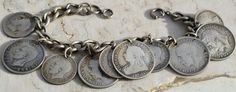 "ESTATE STERLING SILVER CHARM WORLD COIN BRACELET-7.75"" 10 COINS! SILVER!"