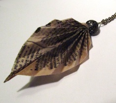 Vintage Dictionary Page Leaf Pendant - Webster's Dictionary. $15.00, via Etsy.