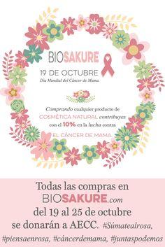 Con la compra de un producto de #cosmeticanatural contribuiras con el 10% en la lucha contra el cáncer de mama. #sumatealrosa, #piensaenrosa