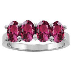 10k White Gold Designer Oval-cut Gemstone Birthstone Ring (Size 6.5 Feb Amethyst), Women's, Purple