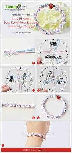 Pandahall Tutorial on How to Make Easy Kumihimo Bracelet with Nylon Thread from LC.Pandahall.com