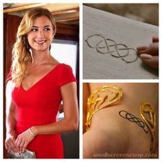 Emily Thorne (Emily VanCamp) is the girl with the double infinity tattoo. She's also the girl with a expensive game-plan for Revenge on ABC's hit series. -- this would looka nice on the collarbone