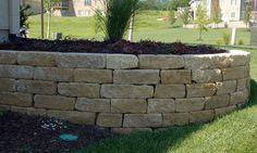 "5.5"" chestnut drystack limestone retaining wall #TopekaLandscape"
