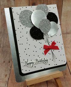 Balloon Celebration - Occasions Mini Catalog - iI's My Party Designer Series Paper, Whisper White, Basic Black card stock, Silver Glimmer paper, Silver Foil - Birthday, Congratulations, Celebration, Graduation