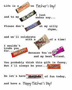 Fathers day candy card
