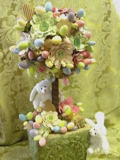 Jillibean Easter topiary - So fun and Easy Tutorial here. Aren't they just the cutest!!: