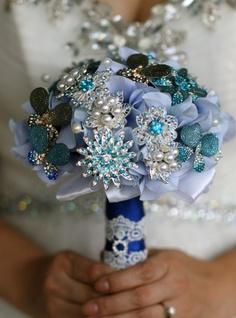 But in your darker blues!   Royal Blue Brooch Bouquet  Vintage Glamour by VintageGlamourDesign