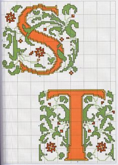 GRAFICOS PUNTO DE CRUZ GRATIS : ABECEDARIOS(56) Cross Stitch Letters, Illuminated Manuscript, Cross Stitch Embroidery, Alphabet, Projects To Try, Kids Rugs, Sewing, Floral, Logos