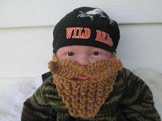 Long Beard Camouflage baby bearded hat knit baby by Ritaknitsall, $20.00