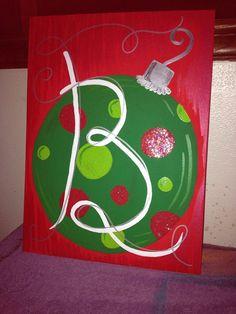 Christmas Painting On Canvas Ideas Hand-<b>painted christmas</b> ornament <b>canvas</b> panel  <b>christmas</b> ...