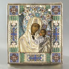 A Russian Icon of the Kazan Mother of God with Gilded Silver, Enamel and Seed Pearl Oklad