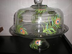 HAND PAINTED GREEN PEACOCK FEATHERS CAKE PLATE/PUNCH BOWL(MADE IN THE USA) #AnchorHocking