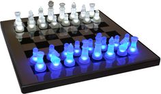 A perfect option for any chess lover and a great gift for anyone who you might know that enjoys a good game of chess, the Lumisource LED Glow Chess Set in Blue and White brings your chess game to a wh