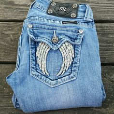 "Miss Me Angel Wing Boot Cut Bling Jeans! Miss Me Angel Wing Boot Cut jeans. Size 25, inseam 30"". Light wear on hem. Miss Me Jeans Boot Cut"