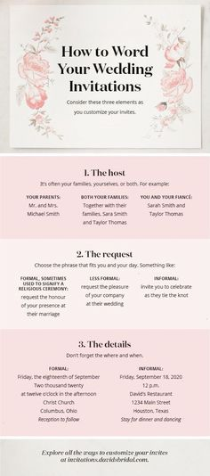 Wondering how to word your wedding invitations? Consider whos hosting and how formal your celebration will be. See more ideas in our full how-to guide at davidsbridal.com. #howtowordweddinginvitationsideas