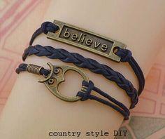 Believe bracelet owl bracelet jewelryt  the by CountrystyleDIY, $2.99
