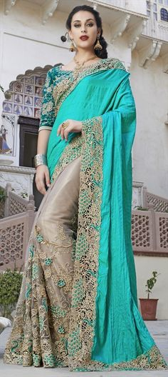 Beige and Brown, Blue  color family Bridal Wedding Sarees