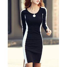 Slimming Scoop Neck Color Block Long Sleeves Dress