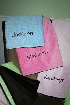 These beautiful, high-end, handmade Minky Dot Blankets come personalized with name, monogram, or message. One side of the blanket is soft, high end minky dot fabric in your choice of light pink, dark pink, green, or light blue. The reverse side is made from soft minky cuddle fabric in either chocolate brown or ivory. You can design your own gift by choosing fabric color, font style, and font color.