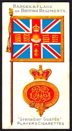 Player's Cigarettes, Badges & Flags of British Regiments, Grenadier Guards Dancing King, British Army, Football Cards, Coat Of Arms, Military History, World War Two, Egyptian, Badge, Flag