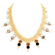 This sexy statement maker features smoky topaz, clear crystal, onyx stones, and unmissable gold spikes, all strung from its unique infinity chain. $58.00. Available at TotallyGems&Scarves  https://yolandasgems.kitsylane.com