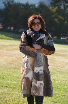 VTG 70s Rabbit Fur Long Coat Multicolor Size S M Mod Hippie