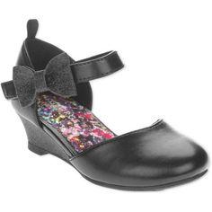 George Toddler Girls' Wedge Dress Shoe, Toddler Girl's, Size: 7, Black