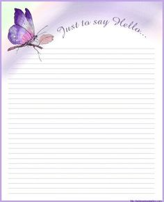 butterfly lined stationery Printable Lined Paper, Free Printable Stationery, Stationery Templates, Stationery Paper, Lined Writing Paper, Writing Papers, Pretty Writing, Notebook Paper, Note Paper