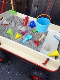 Ein mobiler Sandkasten für kleine Gärten oder eine Terrasse