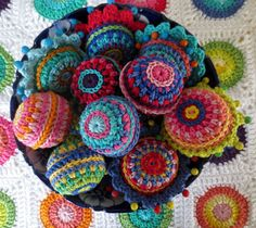 crochet balls for the Christmas tree made in Planet Penny Rainbow shades https://www.etsy.com/uk/listing/130111354/planet-penny-cotton-club-yarn-pack-of-14
