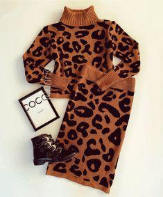 Compleu dama ieftin din tricot maro cu animal print compus din bluza si fusta