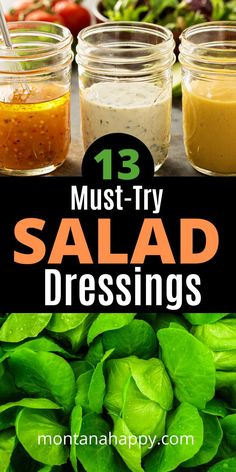 13 Must-Try Salad Dressing Recipes will give you the perfect options on taking your salad to a whole Tahini Salad Dressing, Best Salad Dressing, Salad Dressing Recipes, Salad Dressings, Salad Recipes, Hot Fudge Cake, Hot Chocolate Fudge, Winter Desserts, Party Desserts