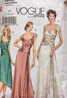 This sewing pattern will make a gorgeous full length gown, with great dramatic flair! It will show off your curves with a ruched wrap front bodice, long skirt with asymmetrical draping or a below-knee diagonal hem dress that will be just right for making a fashion statement at a cocktail party! Size 18 to 22 Please see last photo for measurement details.  Vogue 8150 is complete, mostly uncut but not in factory folds. The envelope has some storage wear.  Copyright 2005.  mcc/miss/may...