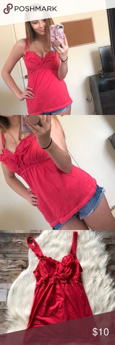 Hot Pink Ruffled Tank Top This hot pink top has never been worn and is in perfect condition ❤️💓 Hollister Tops Tank Tops