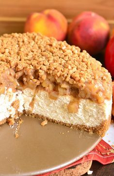 Beautiful marriage between apple pie and cheesecake in one amazing dessert. Silky, creamy cheesecake is flavored with cinnamon and topped with homemade apple pie filling and some toffee crunch pieces. Köstliche Desserts, Holiday Desserts, Delicious Desserts, Yummy Food, Apple Pie Cheesecake, Cheesecake Recipes, Apple Pie Cupcakes, Apple Pie Cake, Homemade Cheesecake