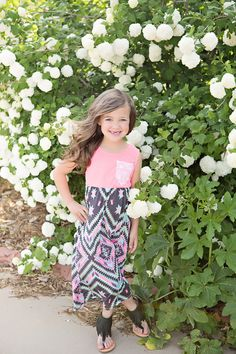 Girls Tribal Maxi Dress with Lace Pocket Neon Pink - Ryleigh Rue Clothing by Modern Vintage Boutique