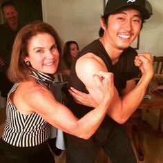 tovahfeld: Comparing biceps with Steven Yeun at movie night.                    I love these gifted loving FUNNY people.