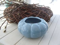 Vintage Soft Blue Heavy Pottery Round by lookonmytreasures on Etsy