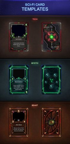 Sci Fi Card Templates 2 0 Trading Card Template Game Card Design Trading Cards Game