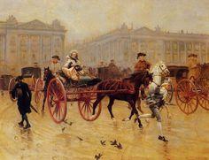 Elegant Figures in the Place de la Concorde, Charles Édouard Delort (1841-1895)