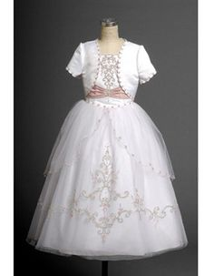 Gorgeous Ball Gown Square Embroidery Beading Satin Flower Girl Dress/ First Communion Floor Length Organza Satin Girl Dress for Wedding
