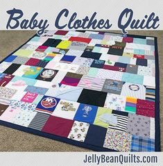 Baby clothes quilts are a great way to save your kids' old clothes and turn them into a quilt you can use every day! Get those baby clothes organized and out of the closet - upcycle them into a baby clothes quilt with JellyBeanQuilts.com