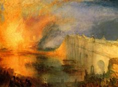 The Burning of the Houses of Parliament, 1834 by William Turner. Romanticism. cityscape. Philadelphia Museum of Art, Philadelphia, PA, USA