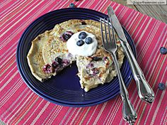Healthy Blueberry Oat Pancakes: No Sugar added (less than 200 calories for both!)