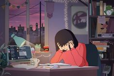 Why 'Study Girl,' Anime Star of an Infinitely Looping Video, Went Missing This Week Aesthetic Art, Aesthetic Anime, Aesthetic Drawing, Aesthetic Bedroom, Paris At Night, Aesthetic Backgrounds, Aesthetic Wallpapers, Studying Girl, Anime Stars