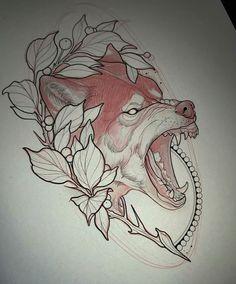 Neo Traditional Art, New Tattoos, Body Art Tattoos, Wolf Tattoos, Sleeve Tattoos, Tattoo Sketches, Tattoo Drawings, Art Sketches, Pretty Tattoos