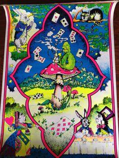 Vintage Alice In Wonderland Black Light Felt Poster Psychedelic Pop Art #Surrealism