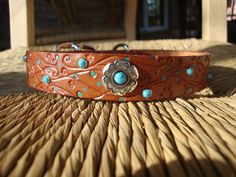 Leather Dog Collar. Embossed 1 Tan Collar. Flowering by FourRobins