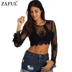 ZAFUL 2017 New Women Sexy Black Lace Crop Top Alluring See-Through Long Sleeve feminino blusas Blouse Fashion Streetwear Tops